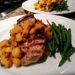 grilled chicken topped with a mango chipotle salsa