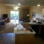 When I opened the door, I was blown away by the size of the living room/kitchen area. T