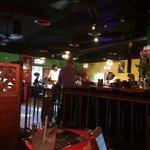 Inside near the bar.