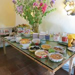 Breakfast buffet- fruits, cheeses, cereals etc