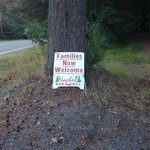 """""""Families Now Welcome"""" sign"""