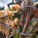 Steak, chicken and beef fajitas