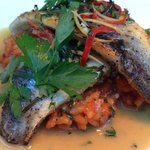 Lovely  crispy skin sea bass & risotto