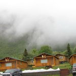 Cabins in the misty mountains