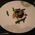 Third course: Pancetta wrapped monkfish, parsley root & asparagus