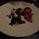 Fourth course: Chorizo stuffed quail & porcini mushrooms