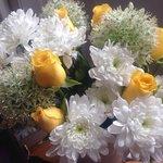 Honeymoon flowers arranged by Jane