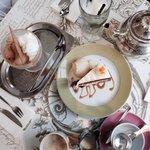 Carrot cake ice cream and tea