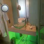 Modern bathroom-green lights beneath