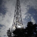 Radio tower on skies