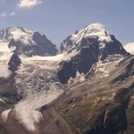 Panorama zum Piz Bernina, Piz Roseg und zur Sella