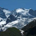 Detailblick von der südlichen Seitenmoräne am Tschierva-Gletscher aus