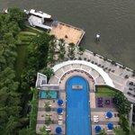 Het zwembad vanaf bovenaf genomen