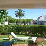 View from villa terrace towards shops