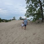 Climbing the dunes at Sandbanks Provincial Park