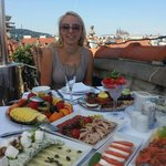 Roof terrace breakfast, with view of Prague castle