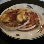 This was today's SECOND course - unbelievable pancakes with a banana nut sauce!