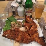 Tandori Red Snapper washed down with a Kingfisher beer