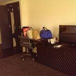 Desk, closet, tv