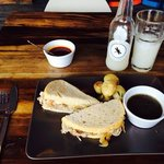 roast beef with au jus and Drako labs guayaba and cardamom beverage