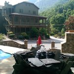 The ultra relaxing hot tub, firplace and patio.
