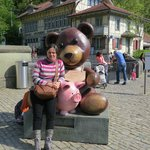 myself near the bear park with a huge toy bear.