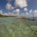 Ankerplatz für das Seekayak am Riff