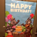 Sign on door of the Wolf Den suite for our daughters birthday.