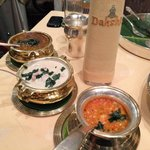 Tomato Pappu Dal, Mutton Erachi Stew and Kazhi Melagu