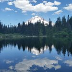 A perfect reflection of Mount Hood on Mirror Lake