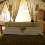 Interior of the tent room (bathroom is behind bed).