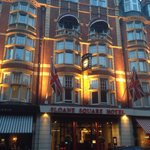Sloane Square Hotel front, by night. Easy to spot from the tube station entrance and from the sq