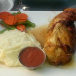 Rostisserie-roasted Rosemary Chicken, herbed mashed potatoes, carrots & snow peas