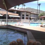 View from covered pool looking toward Poolside Grille, Conferece Center, Spa.