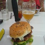 Pork Burger with maple bacon, green apple and blue cheese