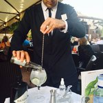 The wonderful Miguel making a Hendricks cocktail at our table!