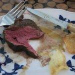 inside of the steak - perfect medium rare
