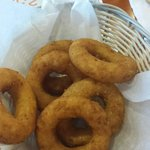Donut shaped hushpuppies!  Delicious! !