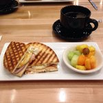 My Salmon & Egg Panini! Very yummy. My wife's a Vegetable and Swiss Quiche! Both with a fruit di