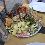 mixed seafood and veggie platter