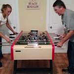 Foosball match in the Bungalow at Catalina Cottage