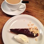 Salted caramel chocolate tart and English tea from Pizza East.