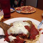 Eggplant parm (meat pizza in back)