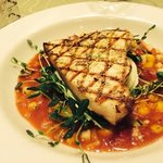 Grilled swordfish and tropical gazpacho