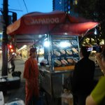 Japadog just outside the hotel entrance - Shrimp dog was delicious
