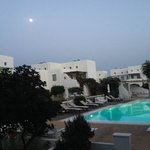 Moon rising over Mykonos seen from the porch of our room.
