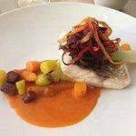 Scrumptious sea bass with carrot coriander sauce