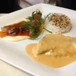 Whitefish with seafood cream