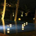 beautiful pool lighting in the evening