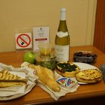 Picnic in our room from local boulangerie and wine shops